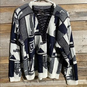 Furst of a Kind | Abstract Print Lace Up Sweater